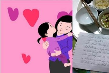 Mâm cơm giản dị, với dòng tin nhắn nhiều cảm xúc của mẹ dành cho con yêu!